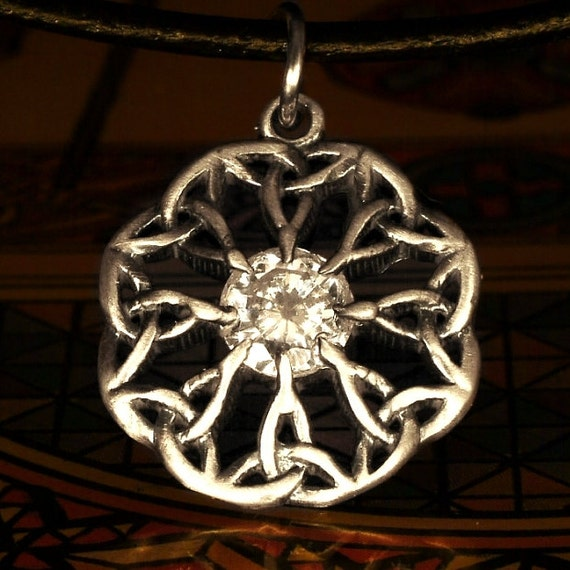 Celtic Sterling Silver Cubic Zirconia Pendant Trinity Interweave Knot on Chain or Leather Cord CP-133C