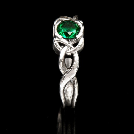 Celtic Emerald Engagement Ring With Trinity Knot by ...