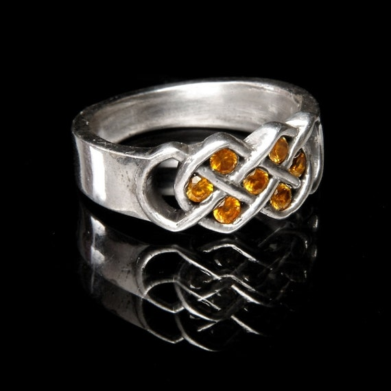 Celtic Yellow Sapphire Ring With Infinity Knot Design in Sterling Silver, Made in Your Size CR-771