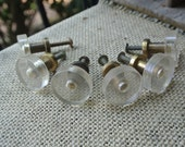 Vintage Set of 6 Brass and Clear Plastic Round Knobs/Drawer Pulls