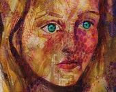 Eyes of the Mystics.  ORIGINAL FINE ART print.  Native pattern portrait