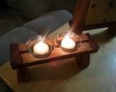 Dual Japanese Torii Gate-style Votive Candle Holder