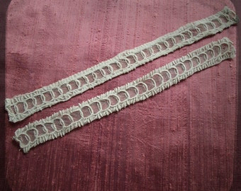 Antique French Lace hand embroidered on net sleeves Ribbon trim - Vintage Fine Handmade 1800s cuffs Whitework from France