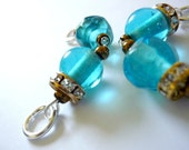 Beaded stitch markers, blue glass and rhinestone stitch markers, knitting stitch markers, blue markers, UK seller