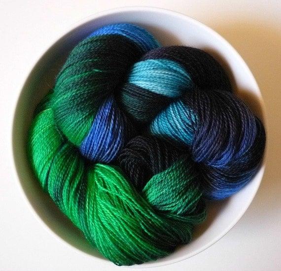 Kelp Forest: 100g hand-dyed 2 ply laceweight merino superwash, British wool - UK seller