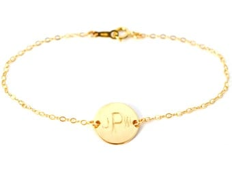 Personalized Custom Letter Initial Monogram Gold Filled or Sterling Silver Circle Disk Charm Bracelet Jewelry