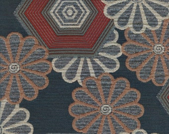 Pewter Floral Upholstery Fabric - 1/2 Yard