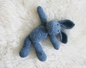 COSMO blue knitted bunny rabbit, soft plushie children's toy from natural high quality wool