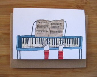 Greeting Card - Piano Player