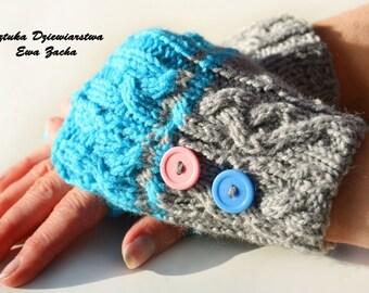 Blue and Grey Fingerless Mittens , fingerless gloves in handmade-warmers gloves with bottons, fingerless gloves
