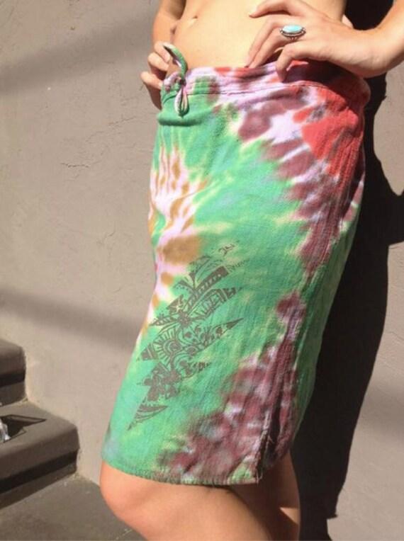 Hand screen printed tie dye skirt, drawstring adjustable waist. Fall colors.