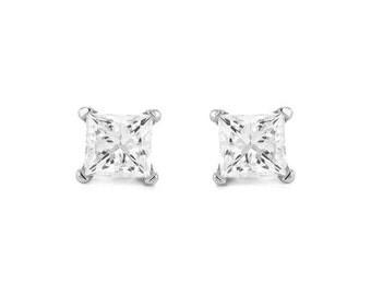 14k White Gold Princess-cut Diamond Stud Earrings (1/5 cttw, I-J, I2-I3)