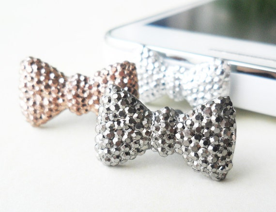 Bling bow dust phone plug - pick the color you want