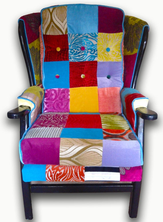 Patchwork Wing Chair- Reupholstered