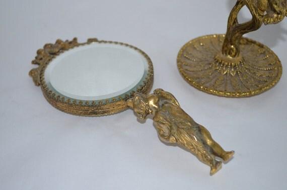 Vintage Gold Hand Mirror With Cherub