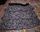 French 90's floral print layered skirt
