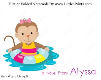 Cute Girl Monkey Swim Beach Summer Note Cards Set of 10 personalized flat or folded cards