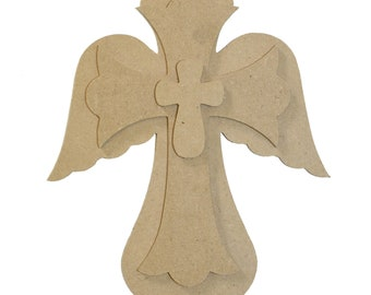 Unfinished Layered Stackable Set Cross Paintable Cutouts 9.5''ST1