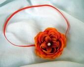 Orange Ranunculus Flower Newborn Baby Girl Headband, Photo Prop