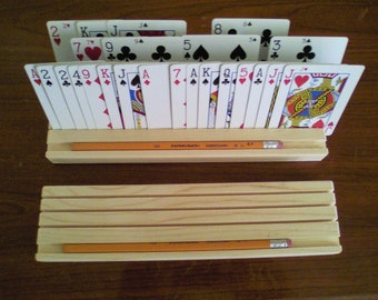 Playing Card Holder/Rack, Euchre Rummy, Poker, Canasta, Kids, Arthritis Aids, Bridge, Senior Citizen, Holds 52 Cards, Gift for any age