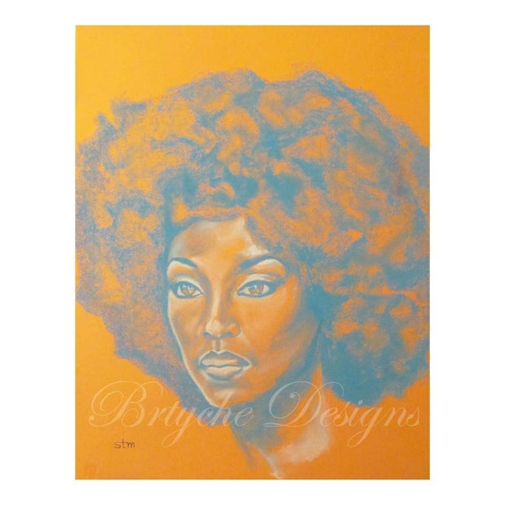 "11 x 14 Orange and Blue Art Print African American Woman with Afro ""Afro Queen"" Chalk Pastel Drawing by Sabrina Tillman McGowens"