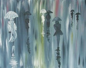 "ORIGINAL LARGE Abstarct Painting  28"" Acrylic  Landscape City  MODERN  People Paris  Autumn  Rain by Tanja Bell"