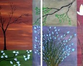 "ORIGINAL LARGE  28"" x 40""  Blossoms  2  Contemporary Abstract Paintings Acrylic Trees Flower  Modern by Tanja Bell"