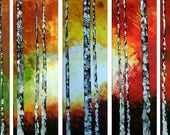"ORIGINAL LARGE Textured  24""x40"" 5 Abstract Paintings Palette Knife Trees Birch Forest Contemporary Art Abstract Acrylic Landscape by T.Bell"