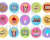 Fair and Circus 4X6 Bottlecap Images Digital Sheet Sticker Sheet