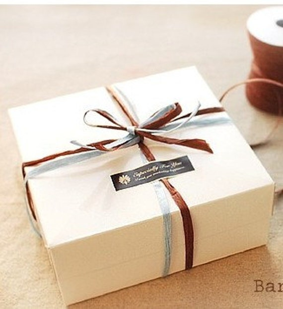 6 x Square White cookie, cake, cupcake, macaroon Box, Bakery Box, Gift packaging, Gift Box, DIY Packaging