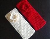 Crochet Headband with Flower / Ear Warmer Headbands / Winter Headband