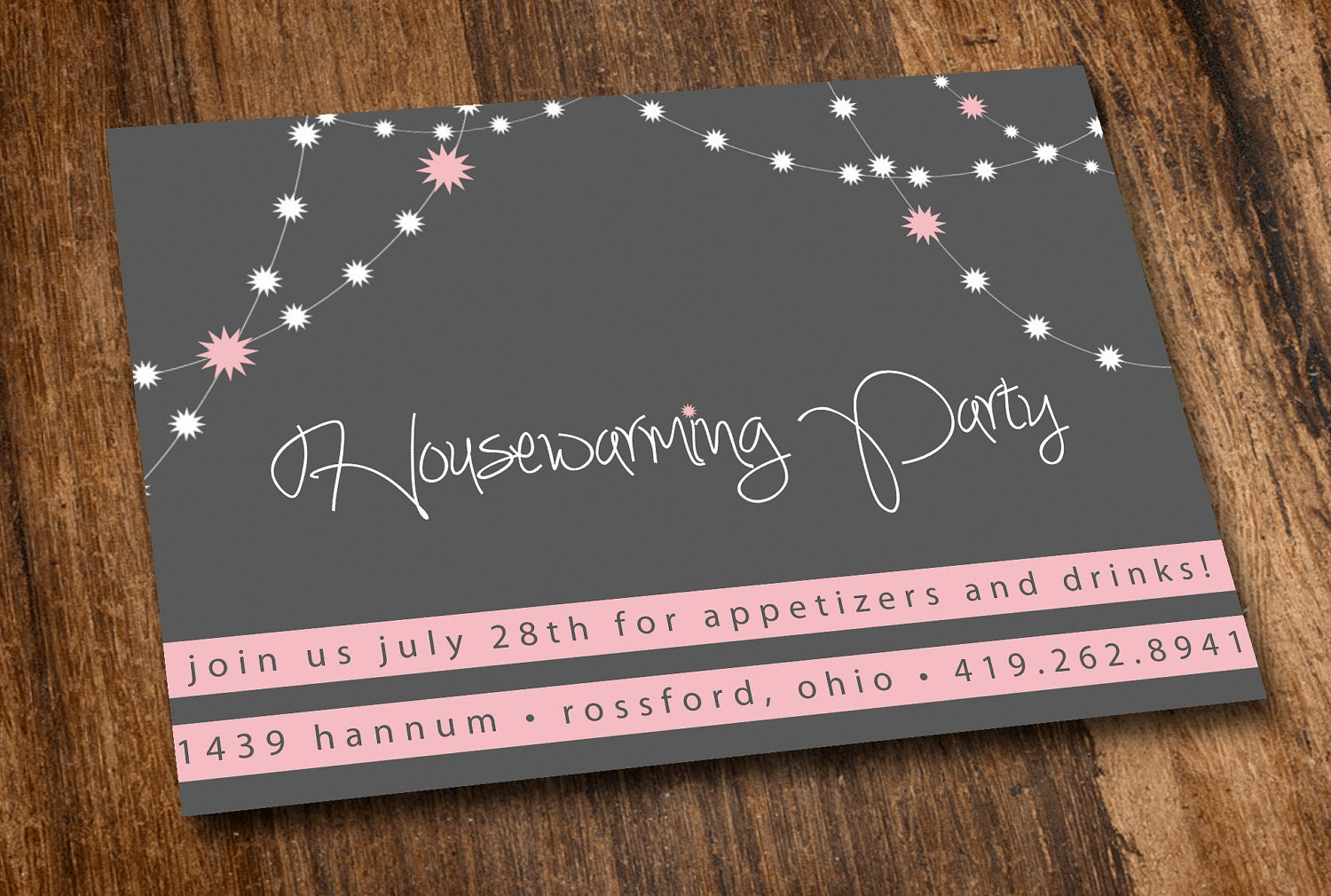 printable housewarming invitation pink lights. Black Bedroom Furniture Sets. Home Design Ideas