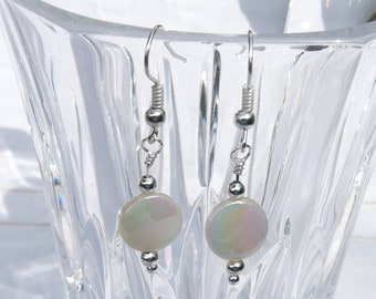 Earrings, Cream, Mother of Pearl, M O P, Drop Style, Shell, Silver