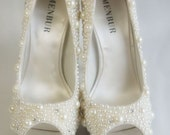 Beautiful custom beaded pearl and swarovski crystal shoes