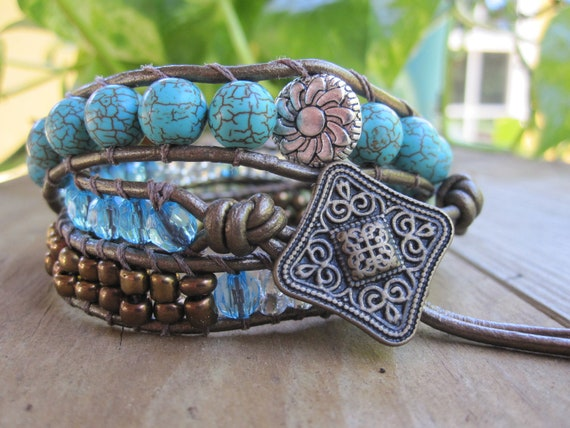 Turquoise and Green Leather Wrap with Bronze Button and Metalic Leather