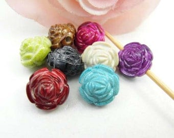 20pcs Mulitcolor Rose Flower Resin Beads 12mm Plastic Beads