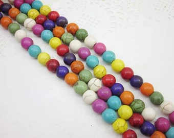 40pcs Full Strand Round Beads, Howlite, 10mm, Mix Color, Howlite Beads, Round Bead