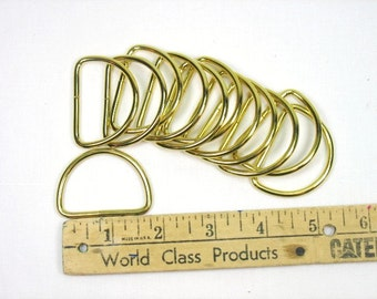 Twelve Brass Plated D Rings