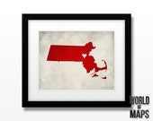 Massachusetts Map Print - Home Town Love - Personalized Art Print Available in multiple sizes
