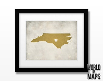 North Carolina Map Print - Home Town Love - Personalized Art Print