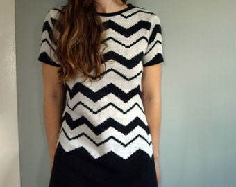 1960s Black and White ZigZag Dress in Wool