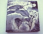 Ceramic Vintage Book Coaster - Cricket & Flower