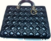Large Lady Dior black tote handbag