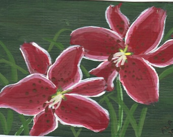 ACEO- Original Painting-Stargazer Lily- By the Artist