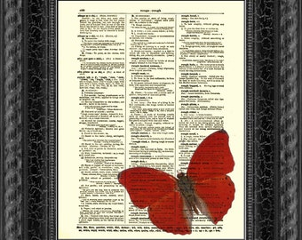 Red Butterfly Art, Upcycled Dictionary Page, Dictionary Print, Home Decor, Wall Decor, Butterfly Art Print