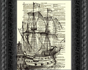 Galleon Dictionary Print, Ship Wall Decor, Art Print, Antique Dictionary Page Art