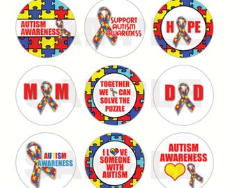 INSTANT DOWNLOAD - Autism Awareness Bottle Cap Images - 4x6 Digital Sheet - 1 Inch Circles for Bottlecaps, Hair Bow Centers, & More