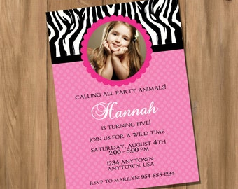 Pink Zebra Birthday Party Invitation with Photo (Digital - DIY)