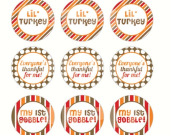 INSTANT DOWNLOAD - Thankful Thanksgiving Bottle Cap Images - 4x6 Digital Sheet - 1 Inch Circles for Bottlecaps, Hair Bow Centers, & More