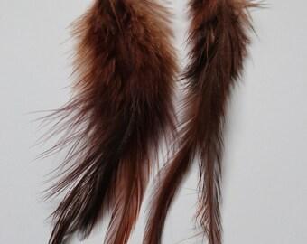 Brown feather earrings. Handmade.